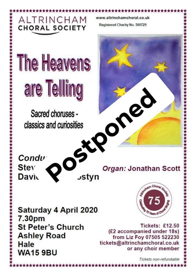 ACS Heavens are Telling postponed poster